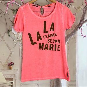Scotch & Soda La Femme Print Pink Tee shirt
